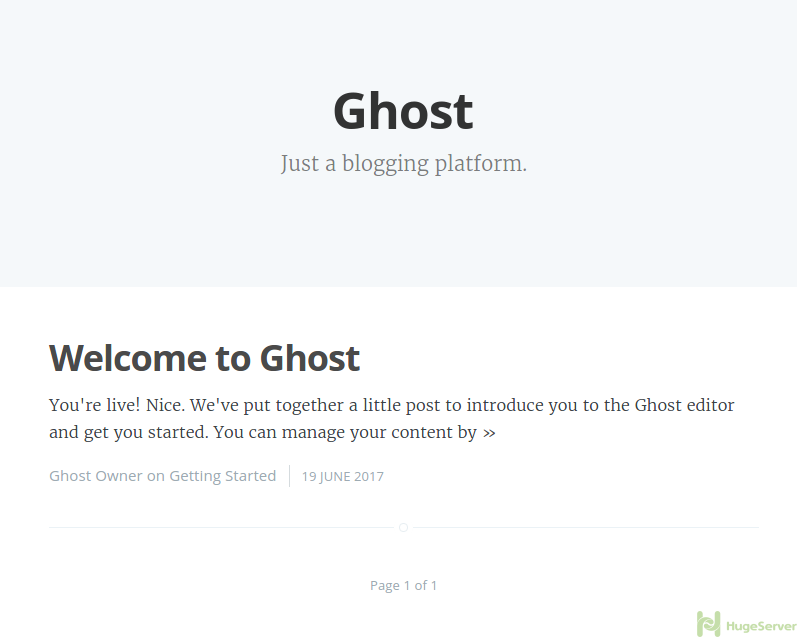 Ghost Wellcome Page