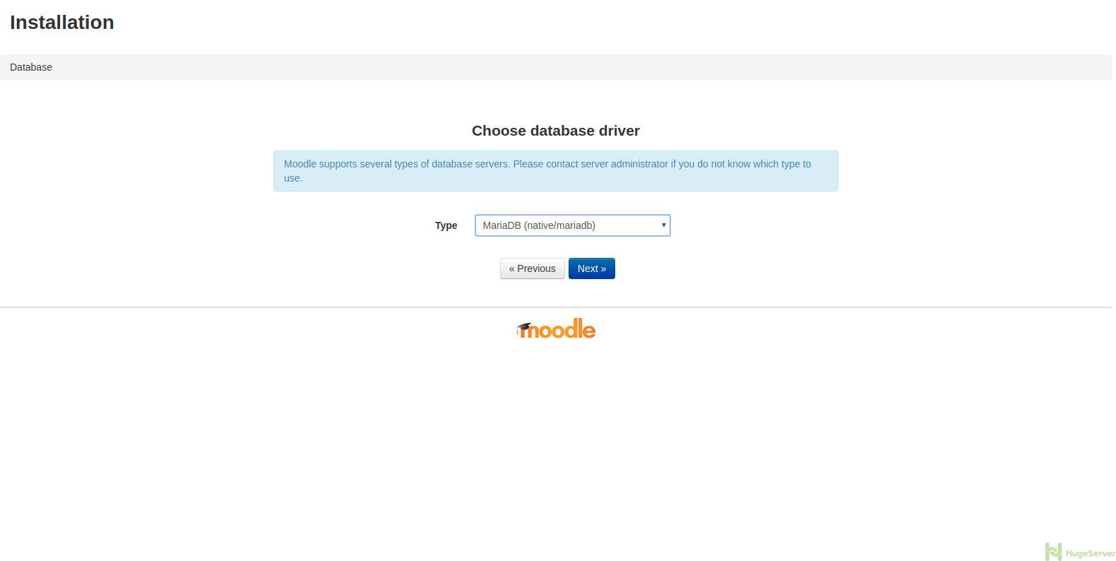 Moodle Setup: Choose Database Driver